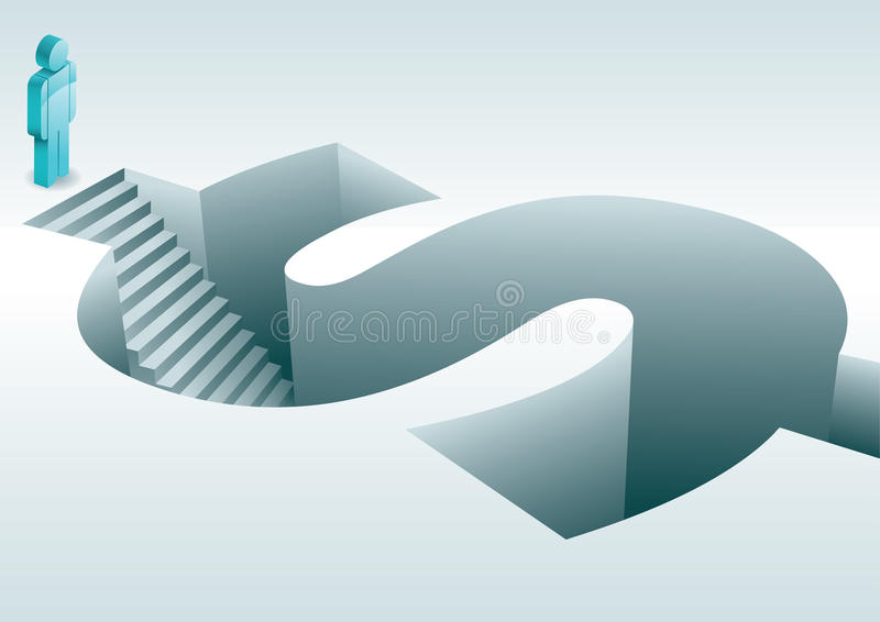 Steps into dollar sign. Human figure stood at top of steps descending into three dimensional dollar sign