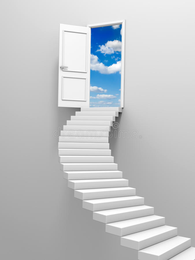 Steps and door. 3d steps and door, isolated on white background stock illustration