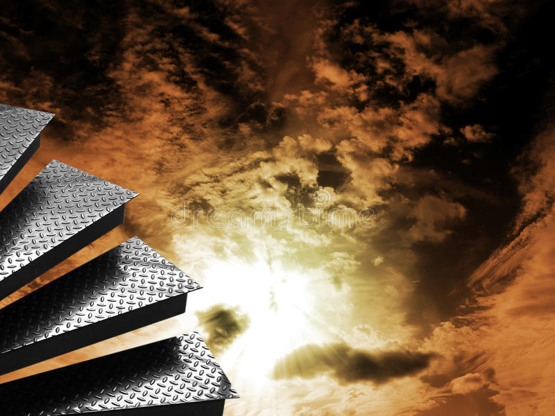 Steps With Dramatic Sky Stock Photography