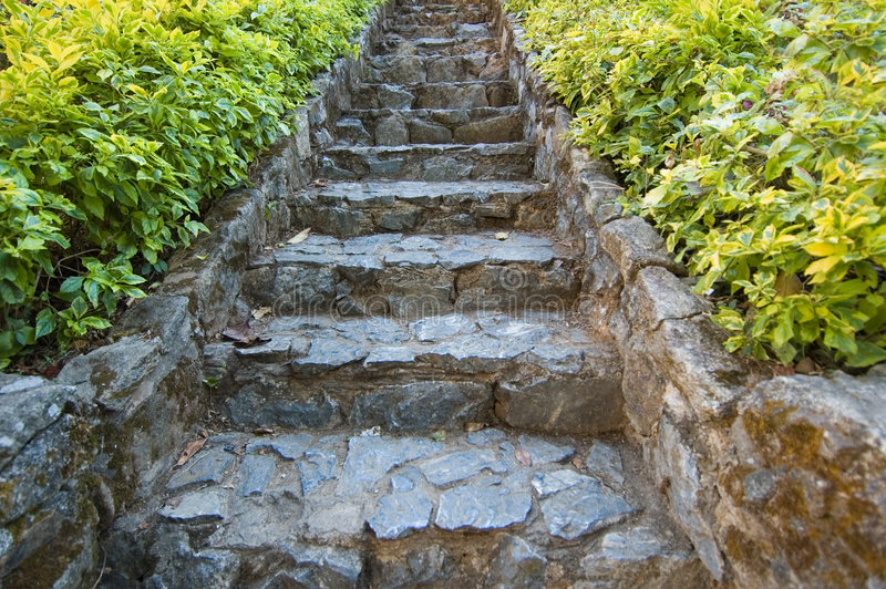 Steps in eastern garden stock photography