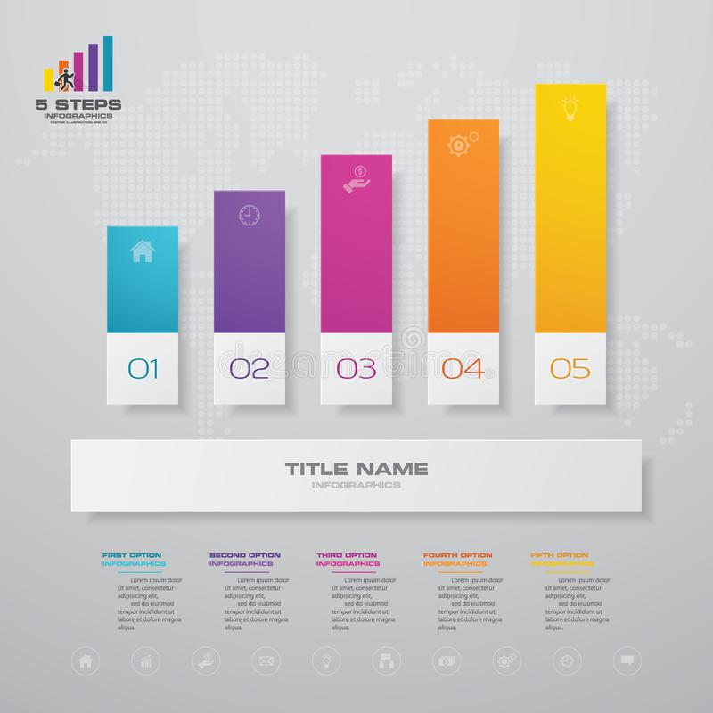 5 steps graph chart infographics element. EPS 10. vector illustration
