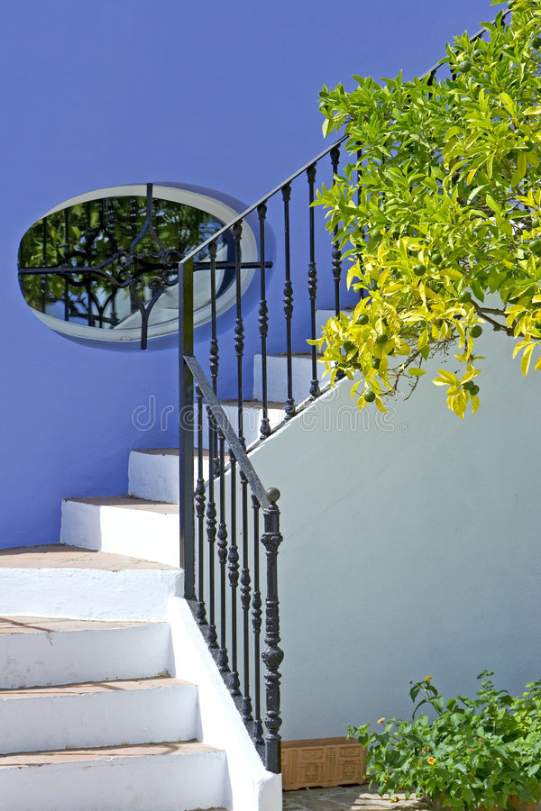 Steps of house in Spanish Pueblo stock image