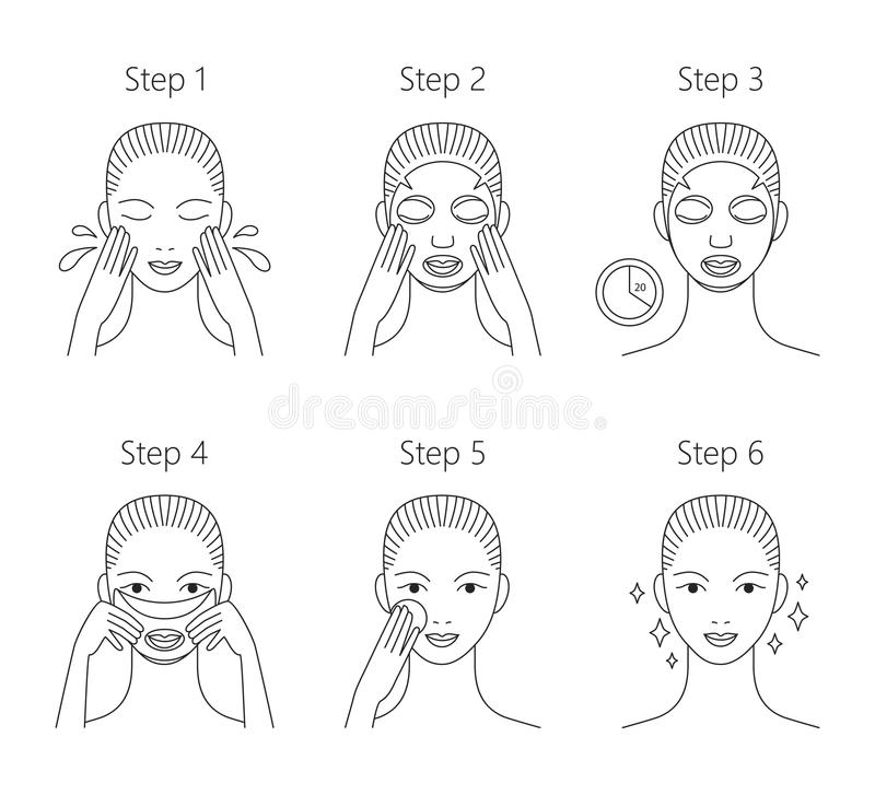 Steps how to apply facial mask. Vector illustrations se stock illustration