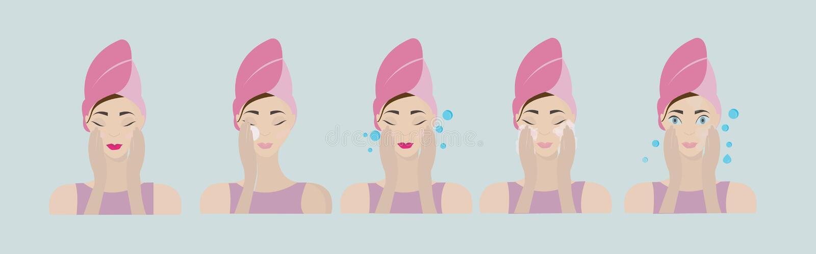 Steps how to apply facial mask. Vector line illustrations set isolated on white background royalty free illustration