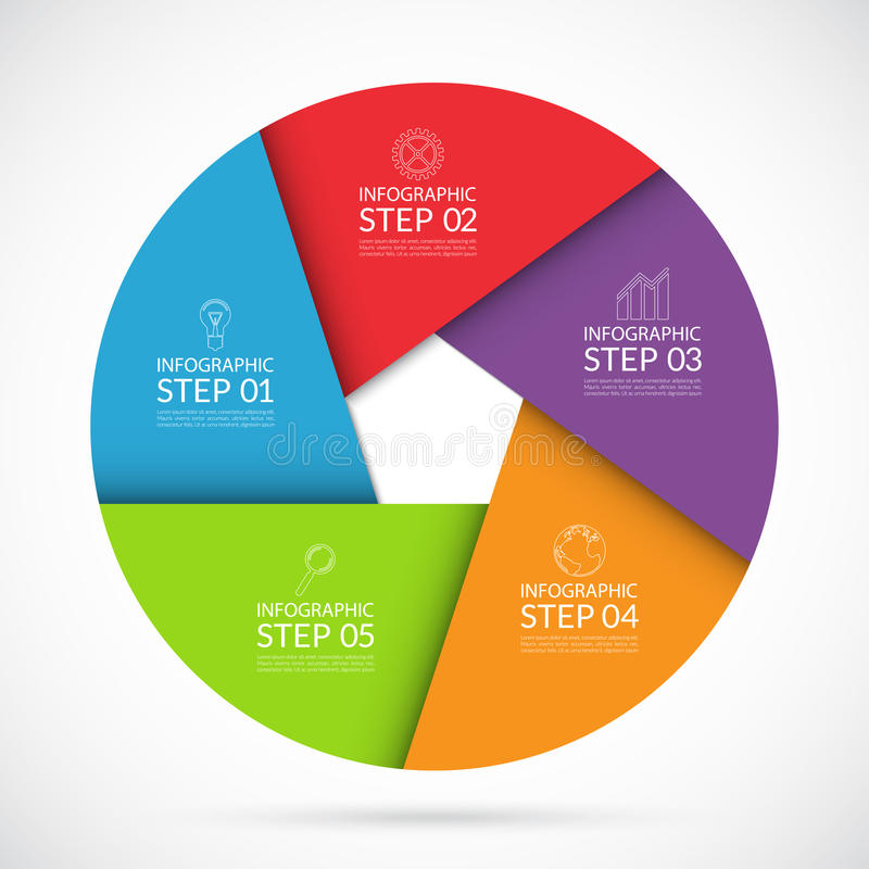 5 steps infographic circle template in material style vector illustration