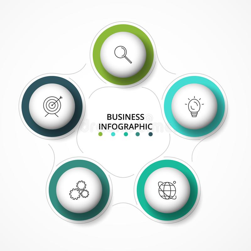 5 steps infographic template. Business concept infographic can be used for workflow layout, diagram, timeline. 5 steps infographic template. Business concept royalty free illustration