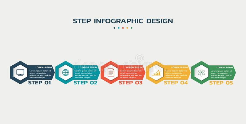 Steps infographic template with hexagons and text. business process flowchart vector illustration