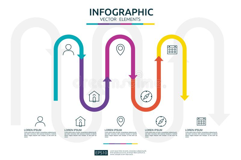 5 steps infographic. timeline design template with 3D arrow link element. Business concept with options. For content, diagram, flo stock illustration