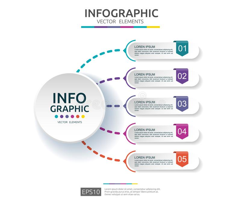 5 steps infographic. timeline design template with 3D paper label. Business concept with options. For content, diagram, flowchart,. Steps, parts, workflow stock illustration