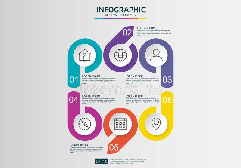 6 steps infographic. timeline design template with 3D paper label, integrated circles. Business concept with options. For content stock illustration
