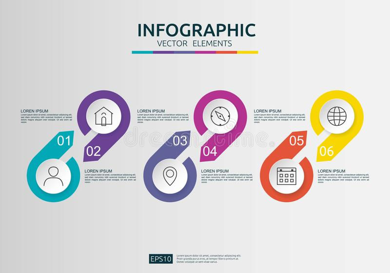 6 steps infographic. timeline design template with 3D paper label, integrated circles. Business concept with options. For content vector illustration