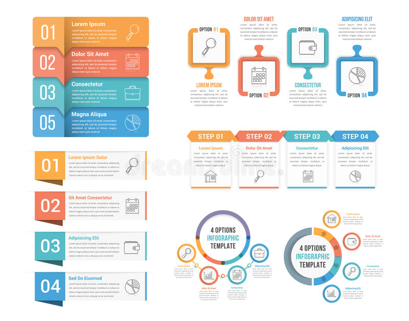 4 Steps Infographics. Four steps infographic templates, can be used as process, options, workflow royalty free illustration