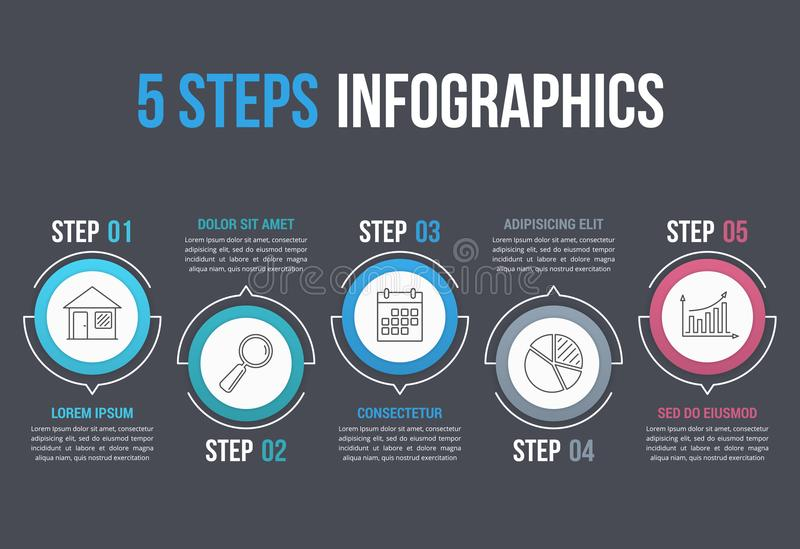 5 Steps Infographics. Infographic template with five steps in circles with line icons, process, workflow, options design vector illustration