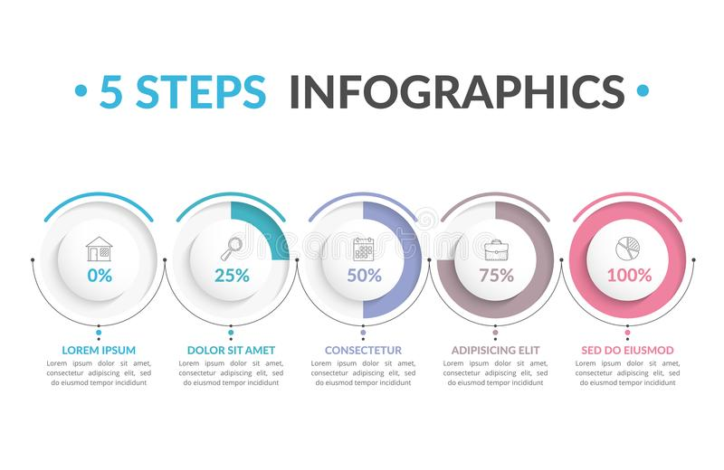 5 Steps Infographics. Infographic template with five round progress indicators, five steps infographics, workflow, process chart vector illustration