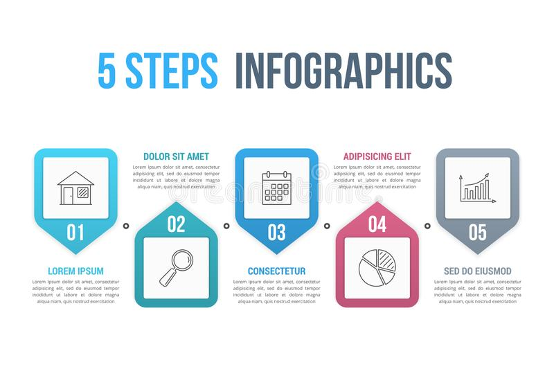 5 Steps Infographics. Infographic template with five steps with line icons, process, workflow, options design stock illustration