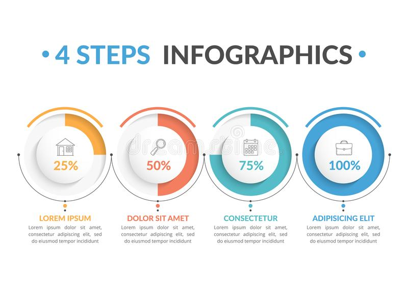 4 Steps Infographics. Infographic template with four round progress indicators, four steps infographics, workflow, process chart stock illustration