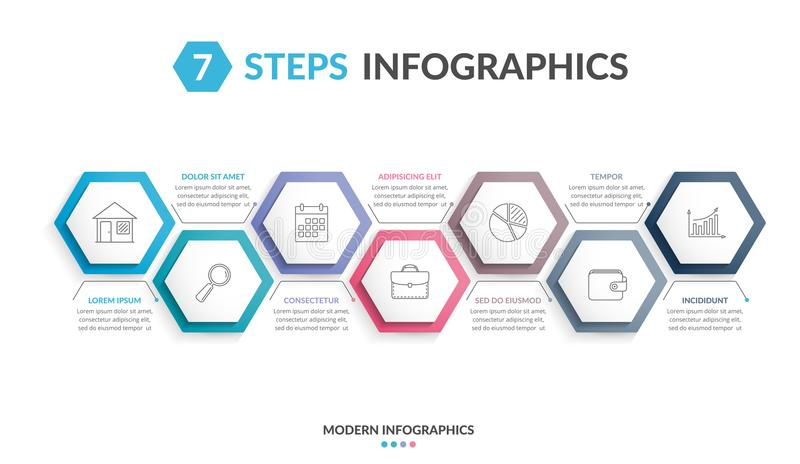 7 Steps Infographics. Infographic template with 7 hexagons with line icons, process chart stock illustration