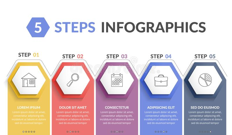 5 Steps Infographics. Infographic template with 5 hexagons with line icons, process chart vector illustration