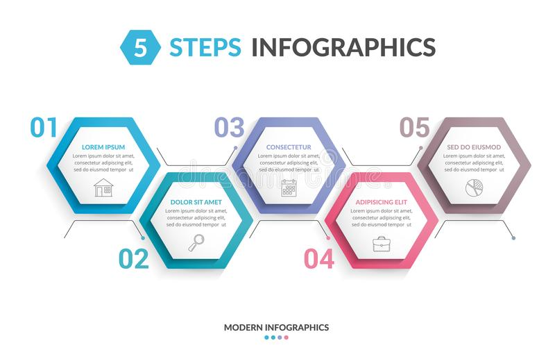 5 Steps Infographics royalty free illustration