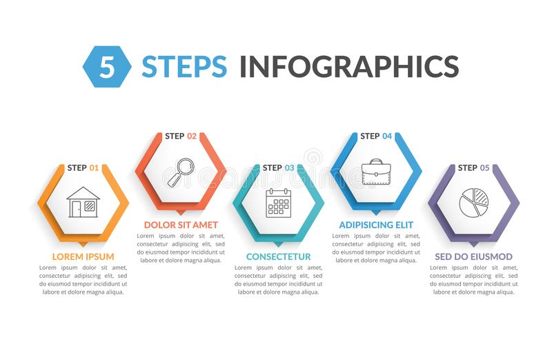 5 Steps Infographics. Infographic template with 5 hexagons with line icons, process chart, creative business infographics vector illustration