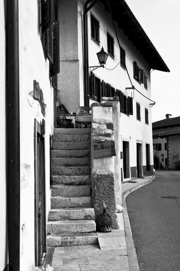 Steps in Kobarid. Kobarid, Slovenia - August 14, 2015:Steps of a building in Kobarid, Slovenija, in the Littoral region royalty free stock images