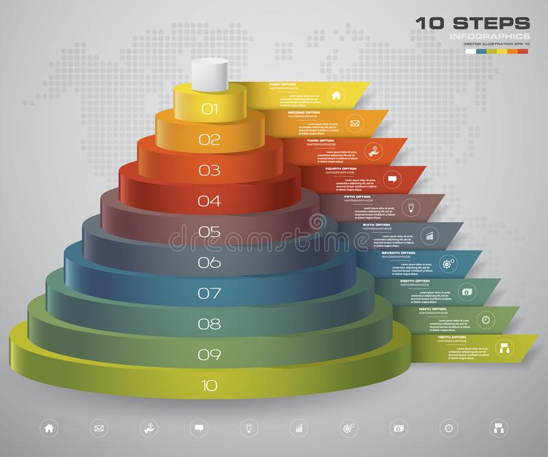 10 steps layers diagram. Simple & editable abstract design element. vector illustration