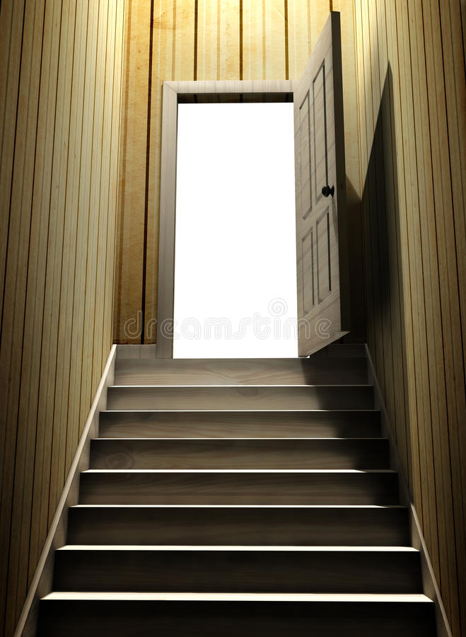 Steps leading from a dark basement to open the door. 3d render vector illustration