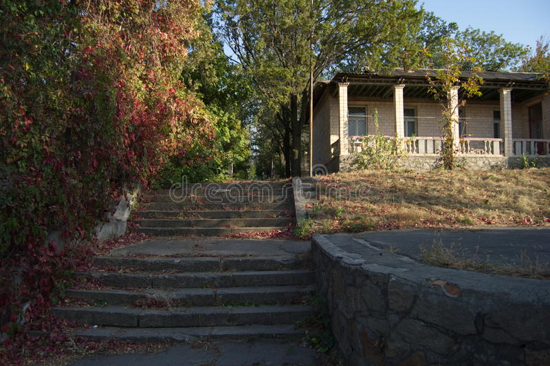 The steps leading to the house of pioneers stock image