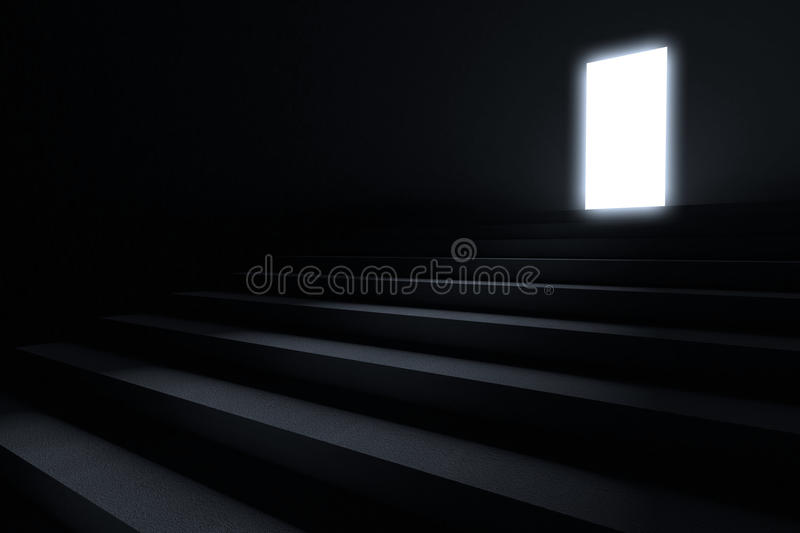Steps leading to light. In the darkness stock illustration