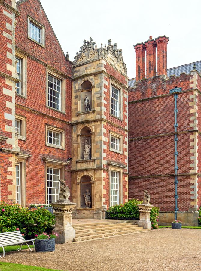 Main entrance to Burton Agnes Hall, Yorkshire, England. The steps leading to the main entrance into the magnificent Elizabethan Burton Agnes Hall, Yorkshire royalty free stock photo