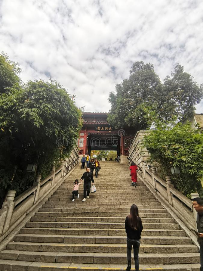 Steps leading to the traditional gate in Wuhan city hubei province china. Steps leading to the traditional Chinese style gate in Wuhan city hubei province china stock image