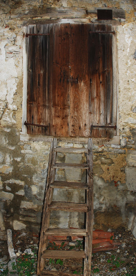 Download Steps Leading To Wooden Shutter Stock Image - Image: 12485687