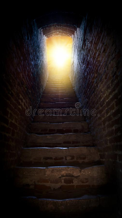 Steps leading up to the sun . Way to God . bright light from heaven . Religious background . Light from sky . solar explosio stock images