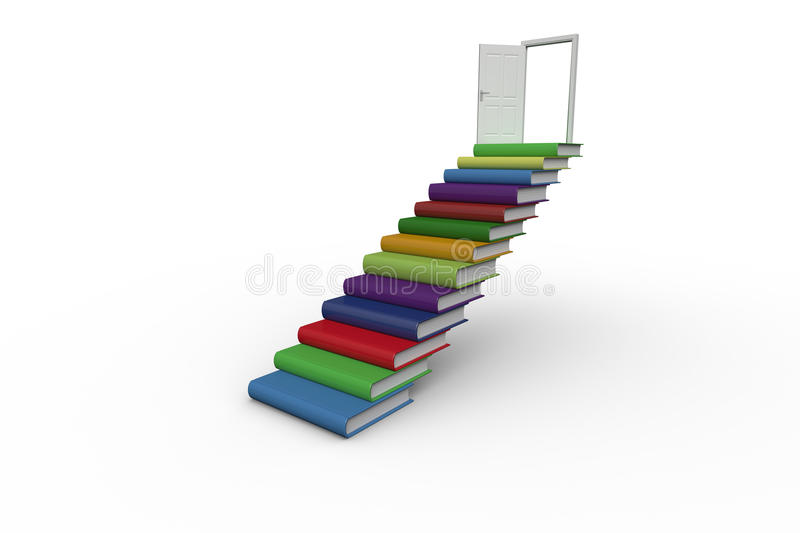 Download Steps Made From Books Leading To Open Door Stock Illustration - Image: 37368451