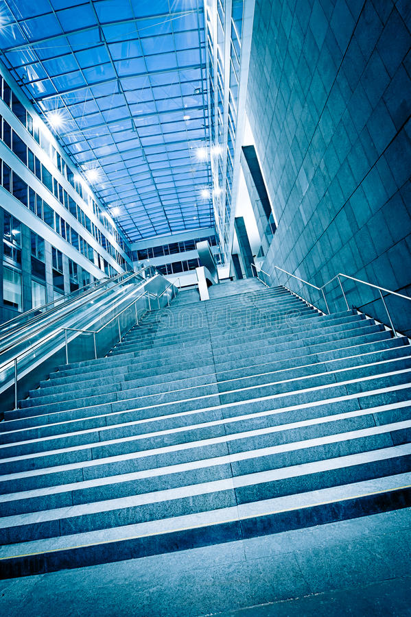Steps in a modern Building. With glass dome stock image