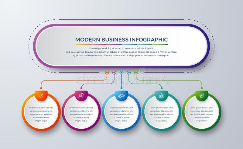 3 Steps Modern infographic with green, purple, orange, and blue color can be used for your process, workflow layout, and more. Infographic with Idea, research royalty free illustration