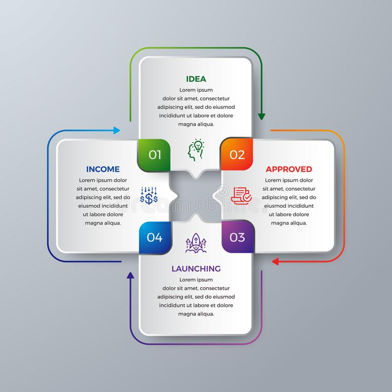 4 Steps Modern infographic with green, purple, orange, and blue color can be used for your process, workflow layout, and more. Infographic with Idea, research stock illustration