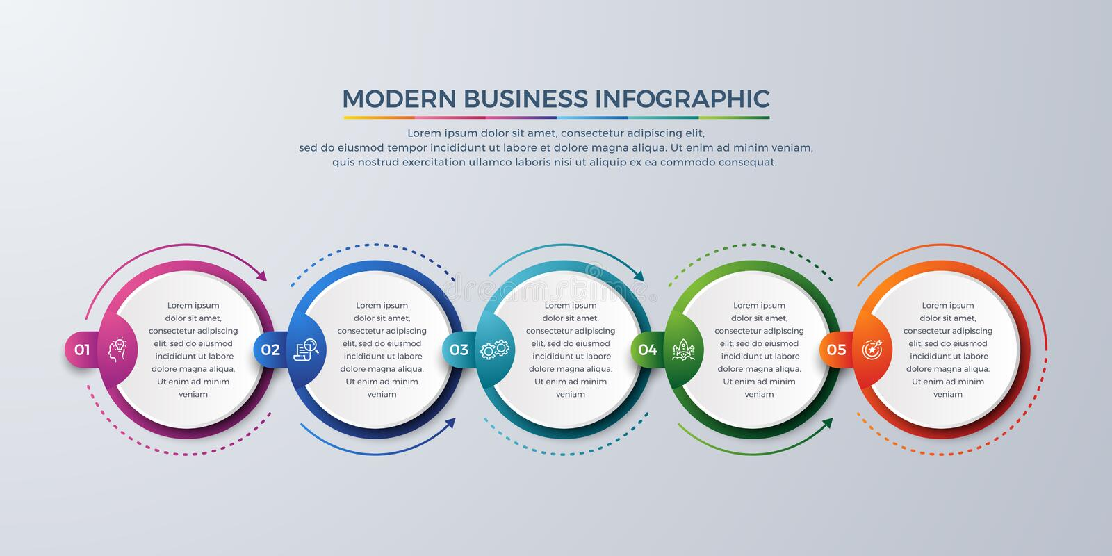 3 Steps Modern infographic with green, purple, orange, and blue color can be used for your process, workflow layout, and more. 5 Steps Modern infographic with stock illustration