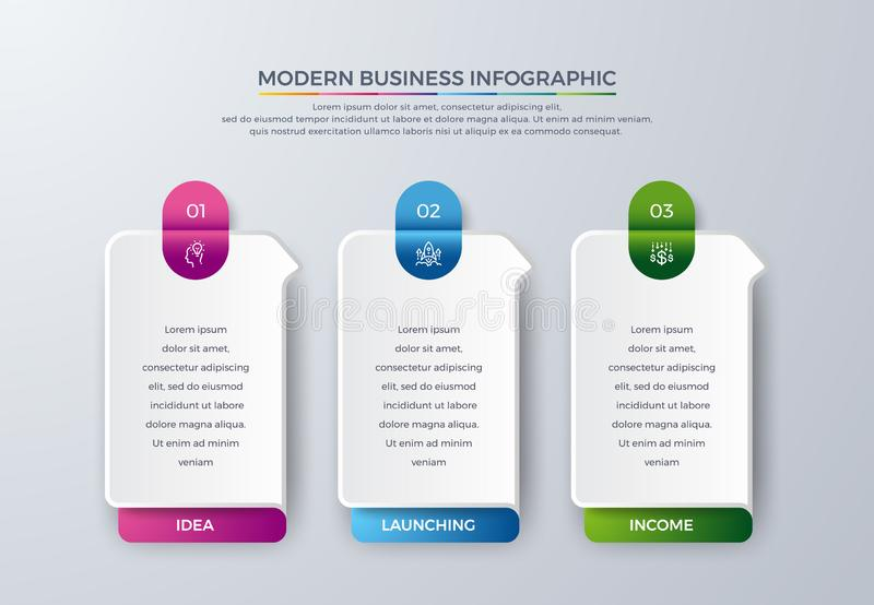 3 Steps Modern infographic with green, purple, orange, and blue color can be used for your process, workflow layout, and more. Infographic with Idea, research stock illustration