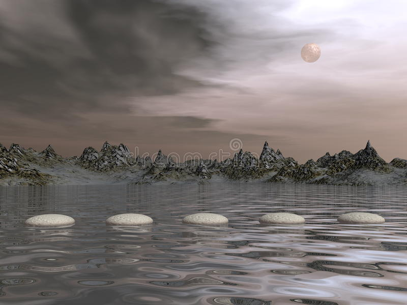 Steps by morning light - 3D render. Steps upon water near mountains by morning light with full moon - 3D render royalty free illustration