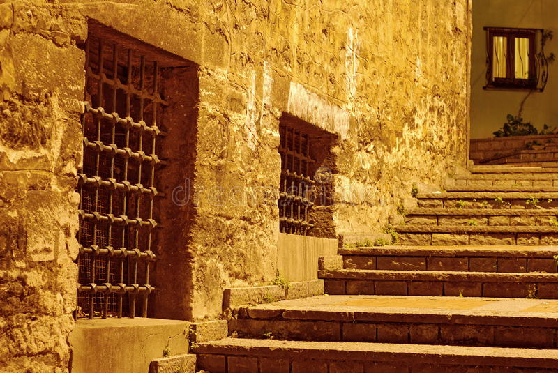 Steps at night royalty free stock images