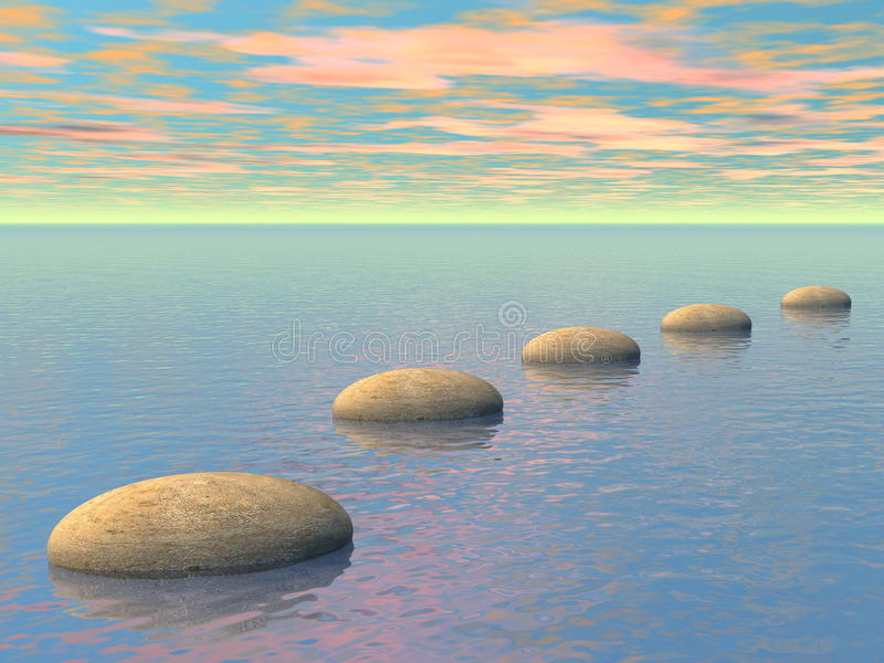 Steps on the ocean - 3D render royalty free illustration