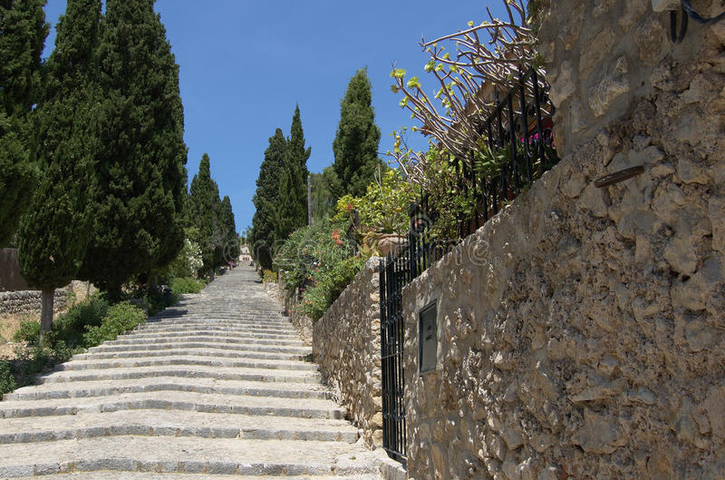 Steps at Pollensa. Calvary Steps at Pollensa, Mallorca, Spain stock images