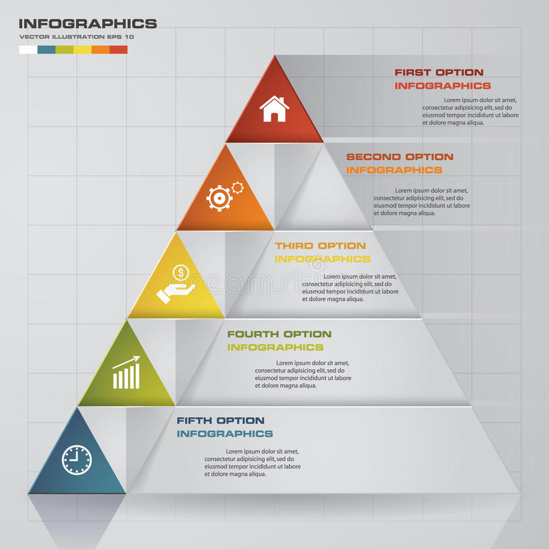 5 steps presentation char in pyramid shape. graphic or website layout. Vector. royalty free illustration