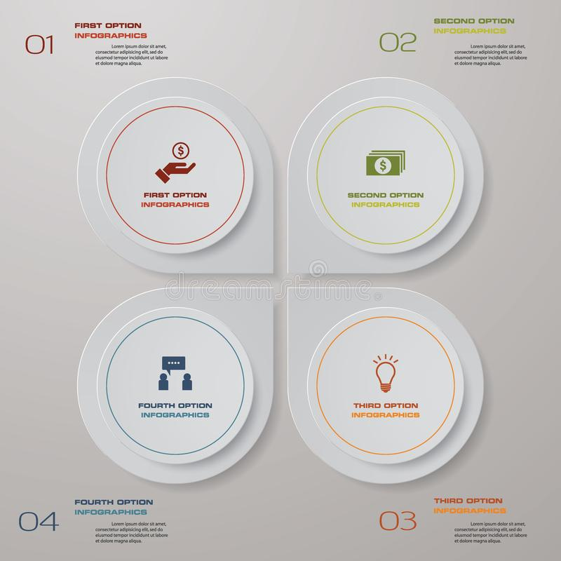4 steps process. Simple&Editable abstract design element. Vector. vector illustration