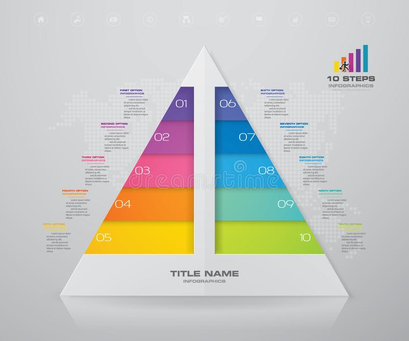 10 steps pyramid with free space for text on each level. Infographics, presentations or advertising. EPS10 royalty free illustration