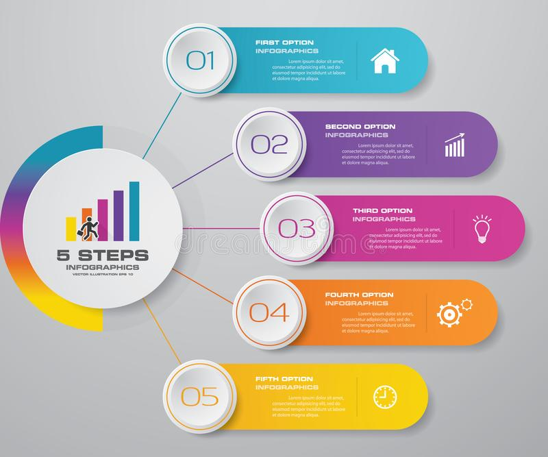 5 steps simple&editable process chart infographics element. EPS 10 royalty free illustration