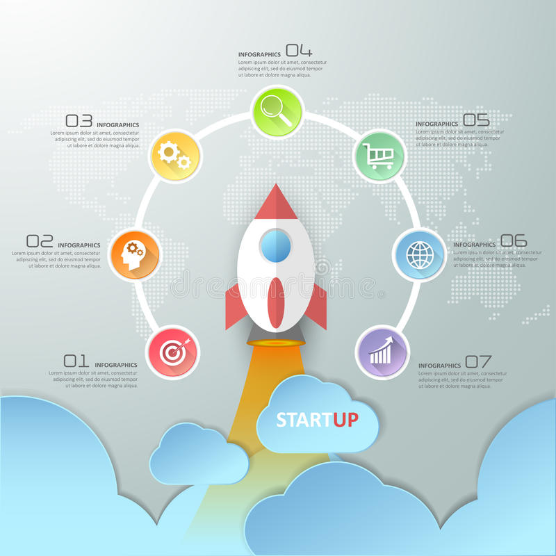 7 steps startup circle infographics with rocket launch. stock illustration