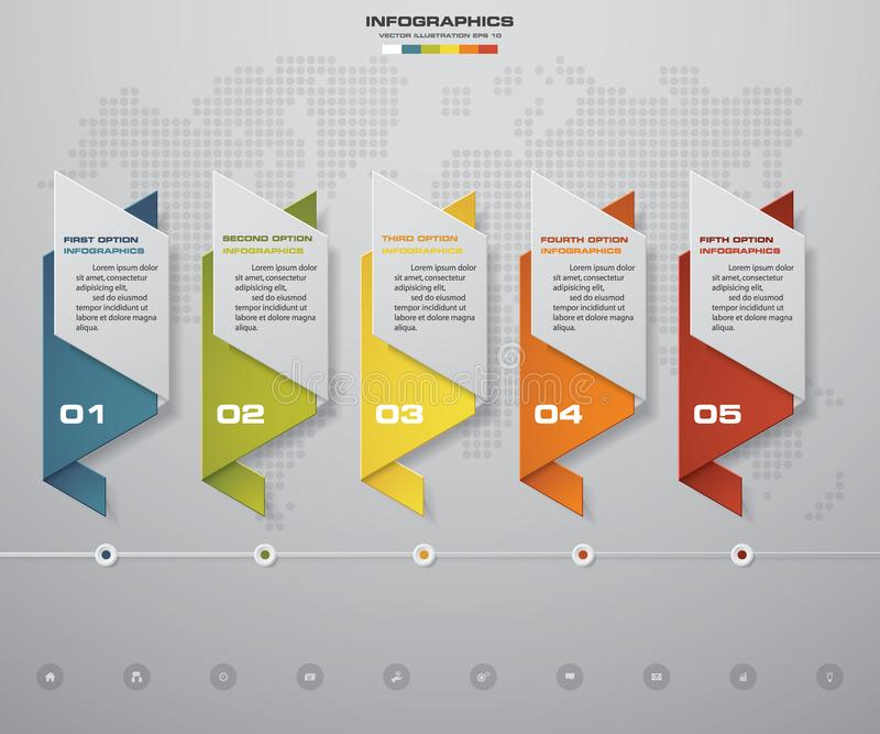 5 steps Timeline infographic element. 5 steps infographic, vector banner can be used for workflow layout. 5 steps Timeline infographic element. 5 steps royalty free illustration