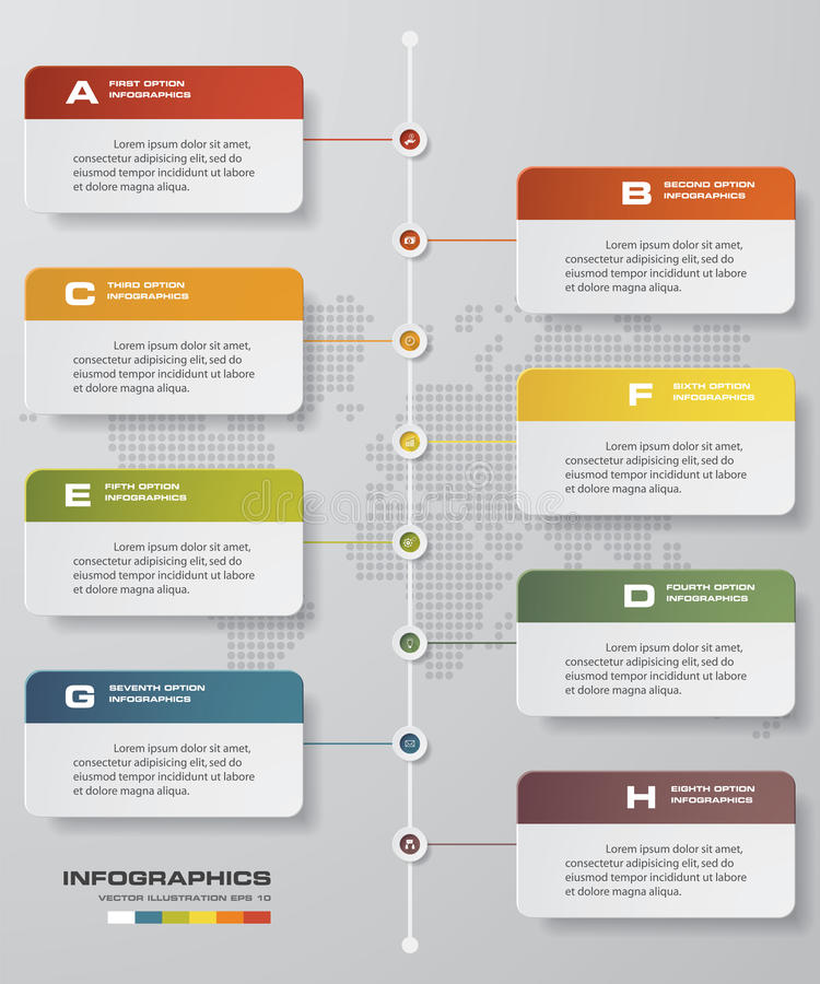 8 steps timeline infographic with global map background for business design. Time line description. 8 steps timeline infographic with global map background for stock illustration